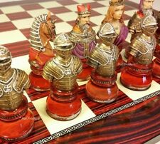 """LARGE MEDIEVAL TIMES CRUSADE Red & Blue BUSTS chess Set W 17"""" CHERRY COLOR BOARD"""