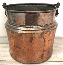 Antique Primitive Hammered Copper Cauldron Kettle Cooking Pot