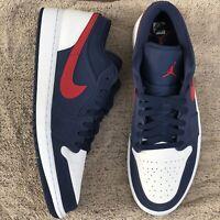 Nike Air Jordan 1 Low SE Navy Blue Red White USA Shoes CZ8454-400 Men Size 11.5