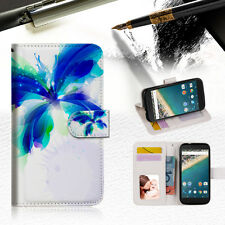 Blue Butterfly Phone Wallet Case Cover For Alcatel Pop Star -- A009