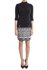 Joseph Ribkoff Black/White Geometric Drop Waist  Dress US 8 UK 10 173886 NEW