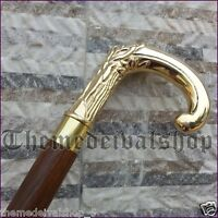 Men's Antique Style Brass Handle Walking Stick Wooden Designer Vintage Cane Gift