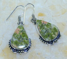 """*NEW* UNIQUE GREEN UNAKITE EARRINGS 1 1/2"""" *FREE SHIPPING*"""
