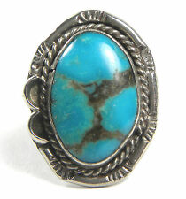 Vintage Primitive Old Pawn Navajo Sterling Silver 20mm Turquoise Ring Sz 6.25