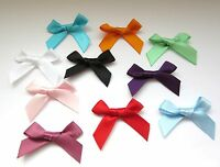 10mm Satin Ribbon Bows 10 Colours, Pack of 50 Double Sided, 30x40mm Overall Size