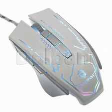 New USB Gaming Mouse Wired White Productivity Adjustable DPI: 2400 1600 1200 800