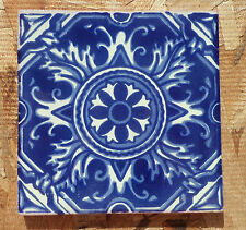 "10~Talavera Mexican 4"" tile pottery Hand painted COMPASS BLUE and White Cream"