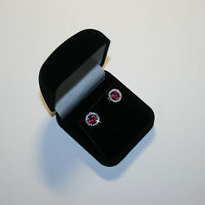 Quality Red Created Ruby Jacket Halo Stud Earrings 14k White Gold over 925 SS