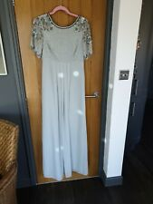 VINTAGE VIRGOS SEQUIN BEADED MAXI GREY DRESS SIZE 12