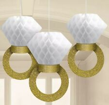 3 HONEYCOMB GOLD GLITTER RING WEDDING ENGAGEMENT PARTY HANGING DECORATION