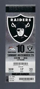 MANNING 55 TD - 3 RECORDS SET - 2013 NFL BRONCOS @ RAIDERS FULL FOOTBALL TICKET