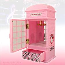 SANRIO Hello Kitty Telephone Booth Music Box Storage Jewelry Box Pink Girl Toy