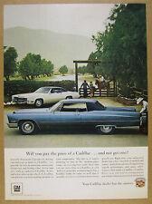 1967 Cadillac blue Coupe deVille & white Eldorado photo vintage print Ad