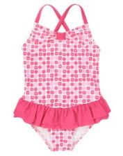 GYMBOREE MERMAID PARTY PINK GEOMETRIC RUFFLE SKIRTED 1-PC SWIMSUIT 4 NWT