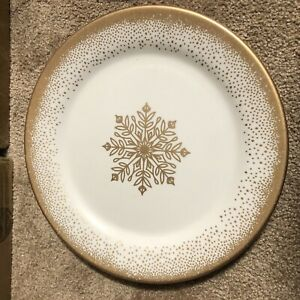 NEW TRIM A HOME Melamine Dinner Plate ~White w Gold Snowflakes (Kmart) HOLIDAY!
