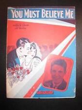 You Must Believe Me Sheet Music Vintage 1933 Ozzie Nelson Joe Burke Tobias (O)