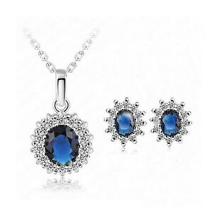 Crystal Bridesmaid Jewellery Bridal Wedding Party Necklace Earring Drop Set Gift