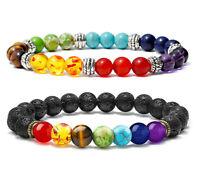 7 Chakra Healing Energy Bracelet Natural Lava Stone Diffuser Bracelets for Men