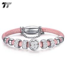 TT Silver S.Steel Crystal Beaded Tri-Row Bracelet Pink (BR217BS)NEW