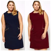 Womens Plus Size Shift Thick Tunic Zip Pocket Sleeveless Leather Trim Mini Dress