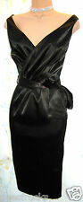 SIZE 12 40s 50s STYLE WIGGLE PIN UP COCKTAIL DRESS BLACK SATIN # US 8 EU 40