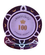 50pcs 14g Monte Carlo Poker Room Casino Poker Chips $100