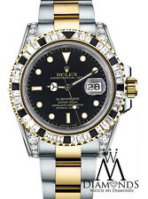 Diamond Rolex Submariner 18K Gold & SS diamond lugs Baguette diamond Bezel