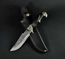 BLACK CUSTOM HANDMADE KNIFE *LEAF HUNTING* PLATED PATTERN + LEATHER SHEATH #1