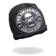 HD Sublimation 2nd Amendment Black Skull Biker Stocking Cap Beanie Hat Headwear