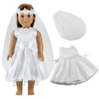 Barwa American doll white inlaid dress + veil Best gift for your baby