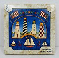 "AbsorbaStone - Nautical/Lighthouse Absorbent Stone Trivet (5.75"" x 5.75"") New"