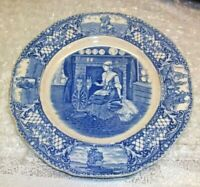 """Colonial Times by Crown Ducal England 6"""" Plate Pioneer Woman Wool Spinning Wheel"""