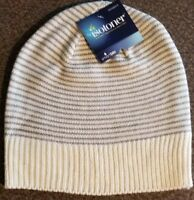 ISOTONER, WOMEN'S, SMART DRI, GRAY & IVORY STRIPED, KNIT CAP, REPELS WATER, NWT