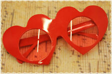 Occhiali montatura a cuore con lente rotonda trasparente colore rosso