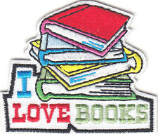 """""""I LOVE BOOKS"""" IRON ON EMBROIDERED PATCH  - READING - SCHOOL - BOOK - TEACHER -"""
