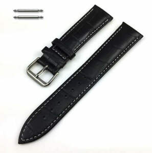 Black Croco Leather Replacement Watch Band Strap White Stitching SS Buckle #1048