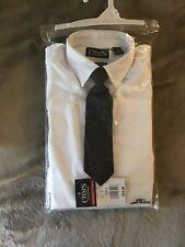 CHAPS Boys Long Sleeve Dress Shirt White Sz 4 Clip on Tie Stretch NWT