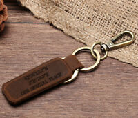 Personalised Leather Keyring Belt Loop Car Keychain Fathers Day Gifts Any Text