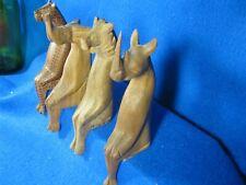 Wooden animal shelf sitters, lion, elephant, leopard and rhinoceros