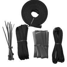 PC Computer Power Supply Cable Sleeving Wire Kit Zip Ties Management Pack Black