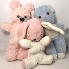 3 Well Loved Teddies Old Vintage Plush Rabbit Gwentoys 60s 70s Blue Pink Retro