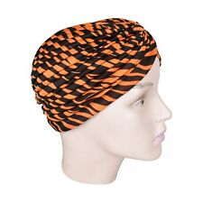 Womans Turban Pleated Head Wrap Orange Zebra Print Soft Cap