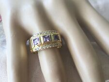 Vintage Jewellery Gold Ring Amethyst and Sapphire White Stones Antique Jewelry