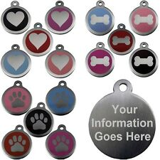 Pet Identity Tags Stainless Steel Round Tab 25mm & 32mm Engraved Dog Cat Discs