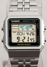 Casio A-500WA-1A  Steel Band Digital Watch World Time 5 Alarms LED Backlight