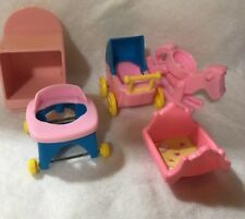 Tyco Barbie Doll Baby Walker Furniture Rocking Cradle Horse Baby Carriage