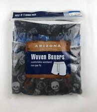 ~NWT~ARIZONA JEAN CO Boys Sz XL(18-20) Woven Boxers(4-PACK)Skulls,Guitars,Skateb