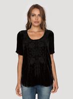 💖 JOHNNY WAS Embroidered NEMARA VELVET Black JWLA Tunic Blouse Tee XS $228 💖