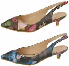 Buckle Floral Synthetic Heels for Women