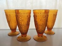 Tiara Indiana Glass 4 Amber Sandwich 12 ounce Footed Tumblers